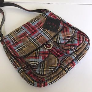 Vera bradley limited edition plaid/leather trim